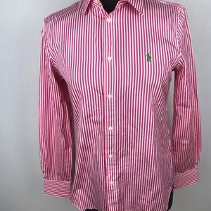 Ralph Lauren Striped Pink/White Button Up Shirt 10